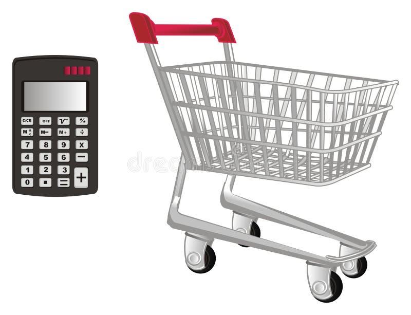 Trole e calculadora do mercado ilustração do vetor