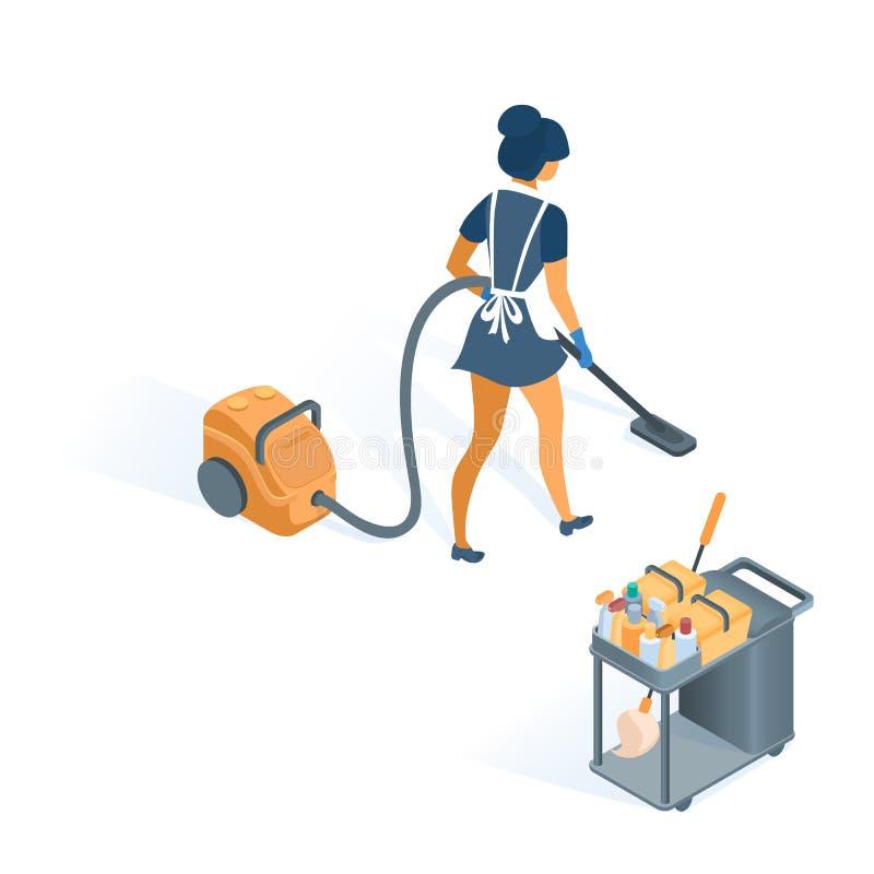 Trole e empregada doméstica de limpeza no uniforme com avental ilustração royalty free