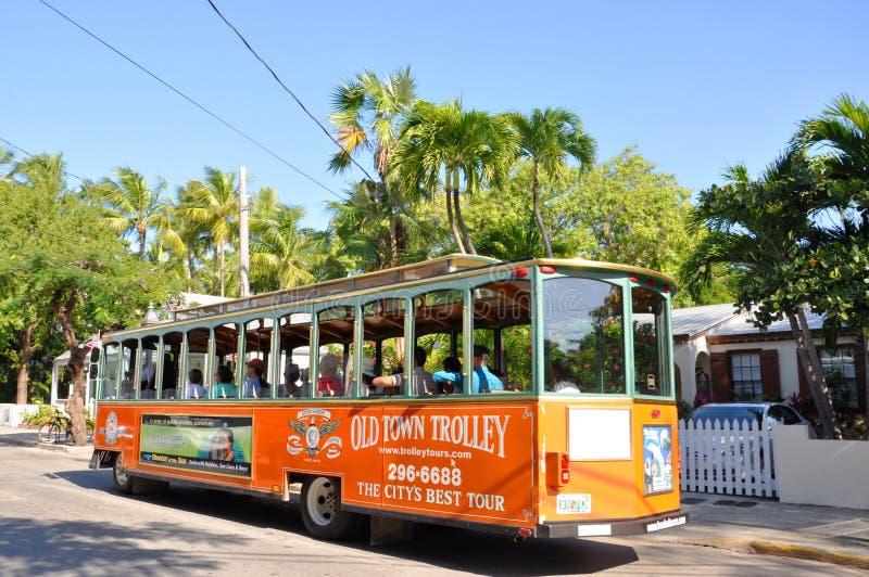 Trole velho da cidade de Key West, Florida foto de stock