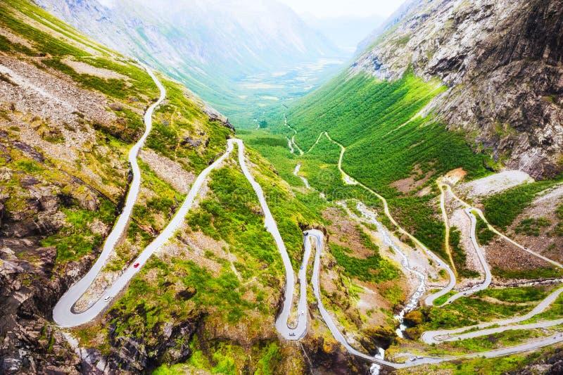 Troll дорога, известное touristic назначение в Норвегии стоковые фото