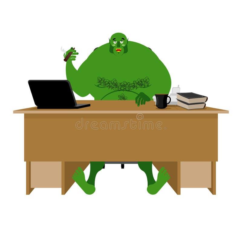 Troll d'Internet Le grand lutin vert se repose à l'ordinateur portable Org et calcul illustration libre de droits