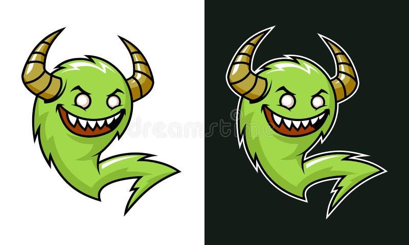 Troll de bande dessinée avec des klaxons Monstre riant vert illustration libre de droits