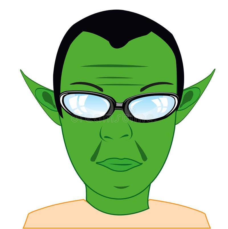 Troll de conte de fées d'homme de portrait avec la peau verte illustration de vecteur