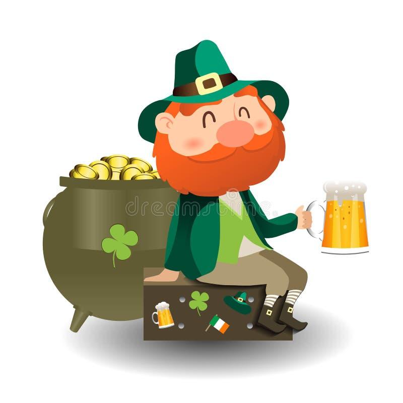 Troll med öl och krukan av guld- kortdagpatrick s st stock illustrationer