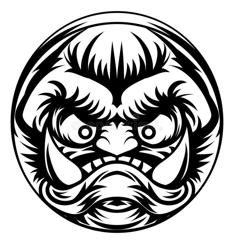 Troll or Monster Icon. An illustration of a stylised troll or other monster face emoji icon stock illustration
