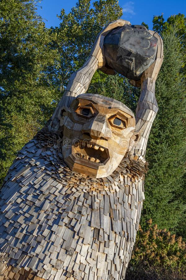 Troll at Morton Arboretum in Lisle. Shot of one of the troll statues at Morton Arboretum in Lisle, Illinois, United States during the Troll Hunt at sunset stock photos