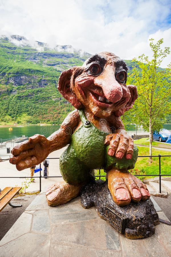 Troll norvegese in Geiranger immagini stock