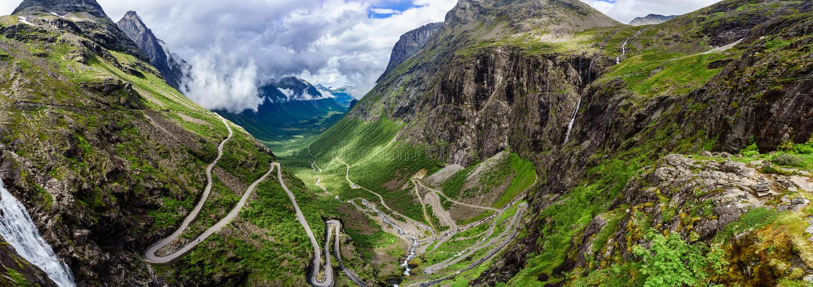 Troll's Path Trollstigen or Trollstigveien winding mountain road stock photo