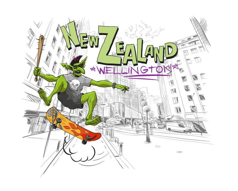 Troll salta su un pattino nella città Wellington In qualche luogo in Nuova Zelanda Schizzo disegnato a mano della città Fashi di  illustrazione vettoriale