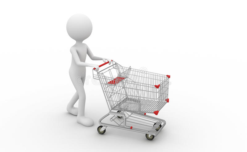 Trolley. Hand pushing a shopping cart to go shopping vector illustration