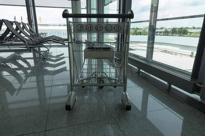 Trolley in the airport royalty free stock photo
