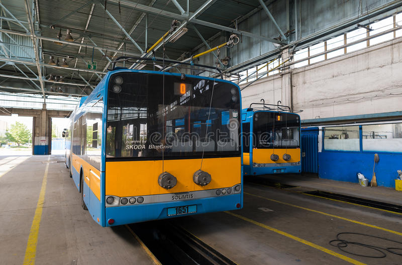 Trolley and bus depot and workshop. Sofia, Bulgaria, September 14, 2015 - Skoda Solaris trolleybuses, part of the city public transport network,are seen parked royalty free stock photography