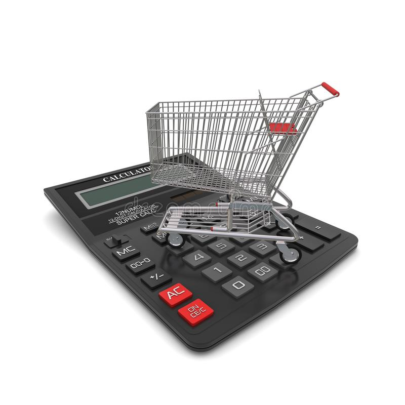 Download Trolley Buyer On The Calculator Stock Illustration - Image: 24108600