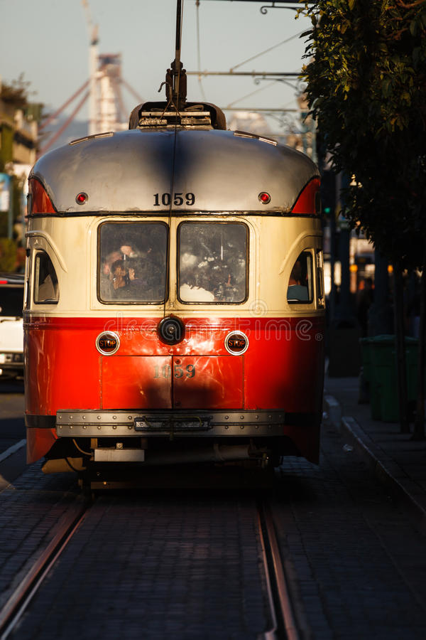 Download Trolley Car Gleams In Sunlight In San Francisco Street Stock Photo - Image: 32553572