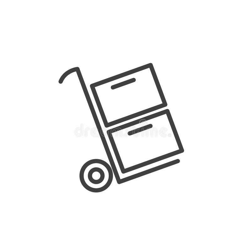 Trolley carrying boxes line icon royalty free illustration