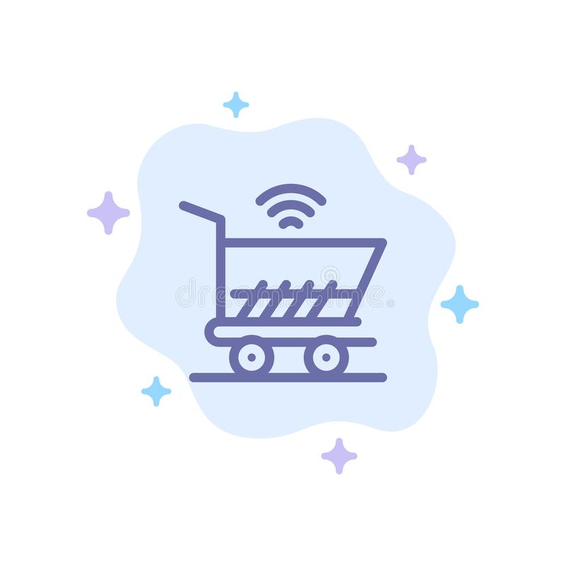 Trolley, Cart, Wifi, Shopping Blue Icon on Abstract Cloud Background royalty free illustration