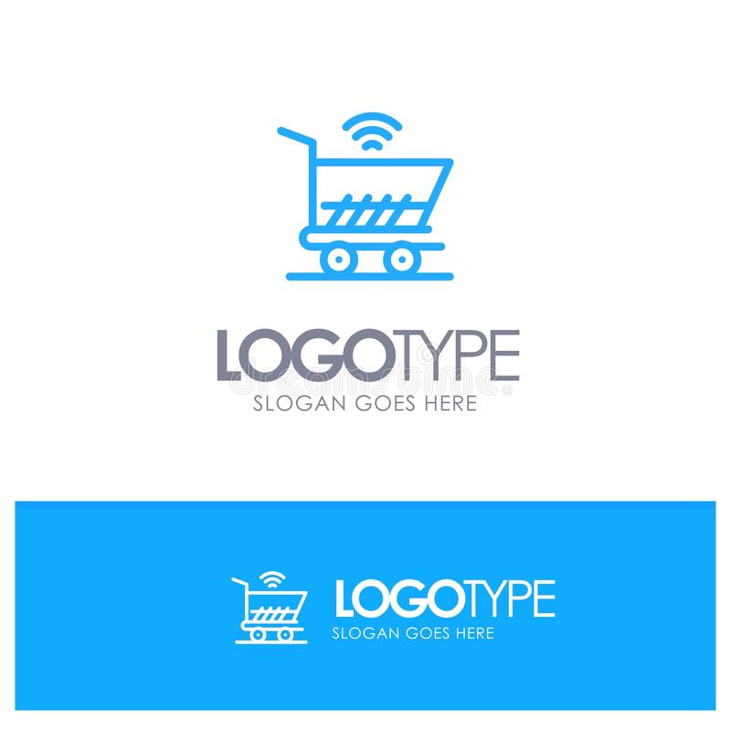 Trolley, Cart, Wifi, Shopping Blue outLine Logo with place for tagline stock illustration