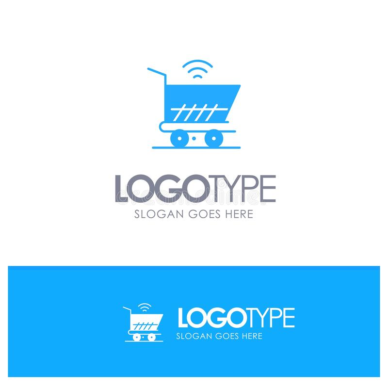Trolley, Cart, Wifi, Shopping Blue Solid Logo with place for tagline vector illustration