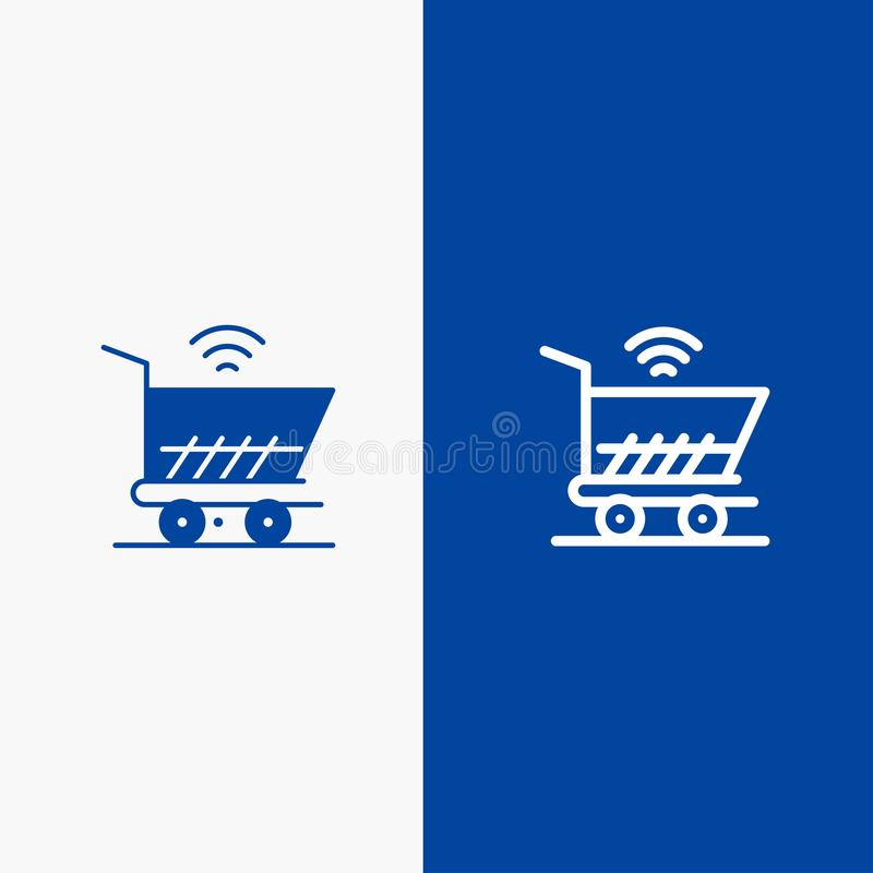 Trolley, Cart, Wifi, Shopping Line and Glyph Solid icon Blue banner Line and Glyph Solid icon Blue banner vector illustration