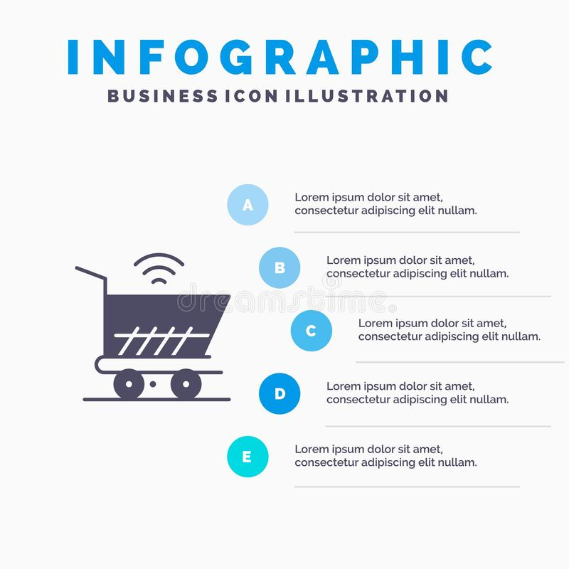Trolley, Cart, Wifi, Shopping Solid Icon Infographics 5 Steps Presentation Background royalty free illustration