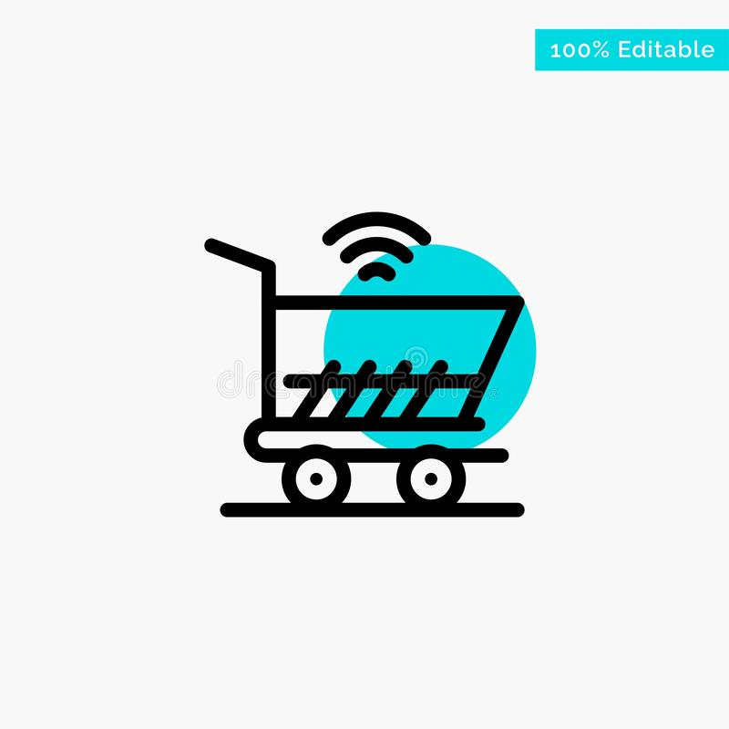 Trolley, Cart, Wifi, Shopping turquoise highlight circle point Vector icon royalty free illustration