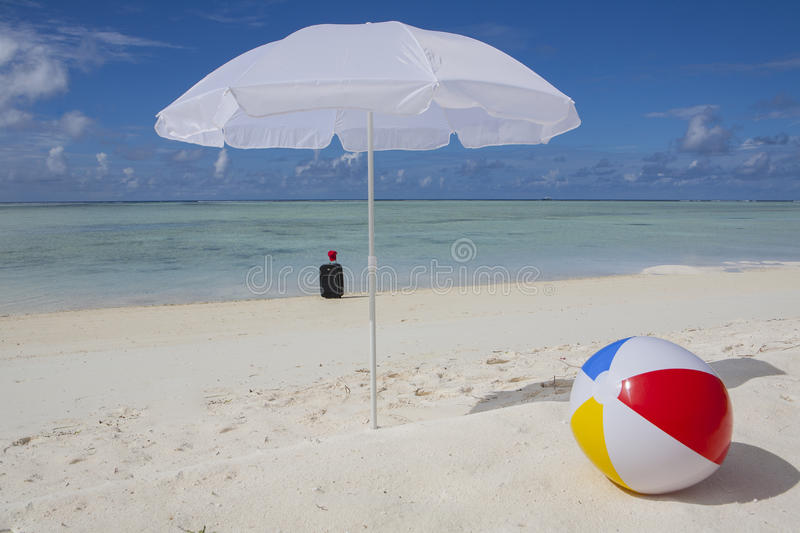 Trolley Case At The Beach Stock Photography