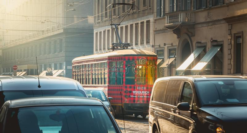 Trolley of the company Azienda Trasporti Milanesi circulating in royalty free stock images