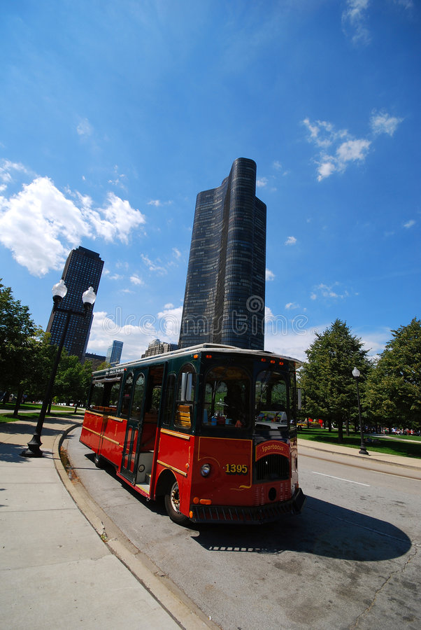 Trolley In Downtown Chicago Stock Image