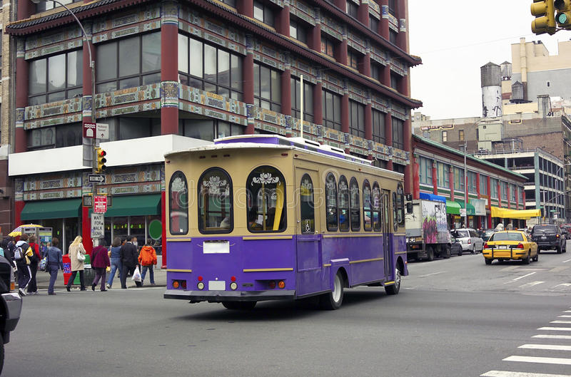 trolley för bilchinatown nyc royaltyfri foto