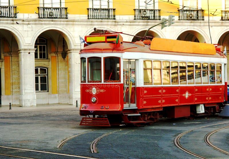 Trolley on lisbon portugal street stock image