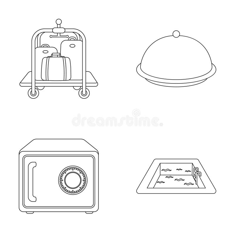 Trolley with luggage, safe, swimming pool, clutch.Hotel set collection icons in outline style vector symbol stock vector illustration