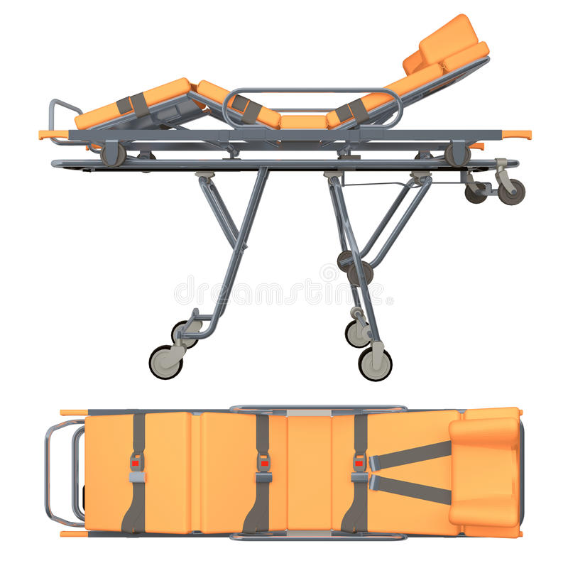 Trolley medic isolated on white 3d rendering. Trolley medic isolated on white. 3d rendering stock illustration