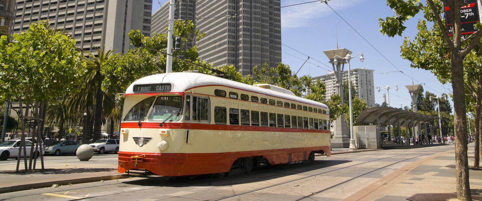 Panoramic Photo Trolley in San Francisco Street royalty free stock image