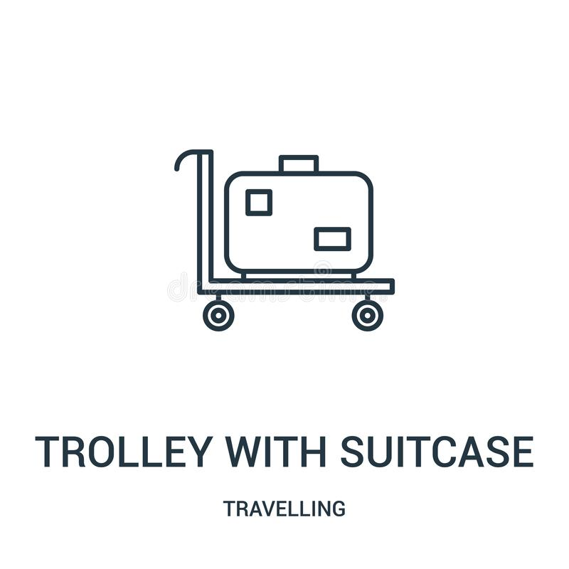 trolley with suitcase icon vector from travelling collection. Thin line trolley with suitcase outline icon vector illustration. stock illustration