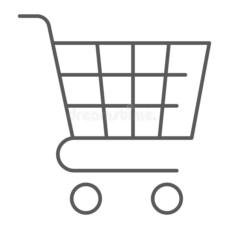 Trolley thin line icon, shop and market, cart sign, vector graphics, a linear pattern on a white background. stock illustration