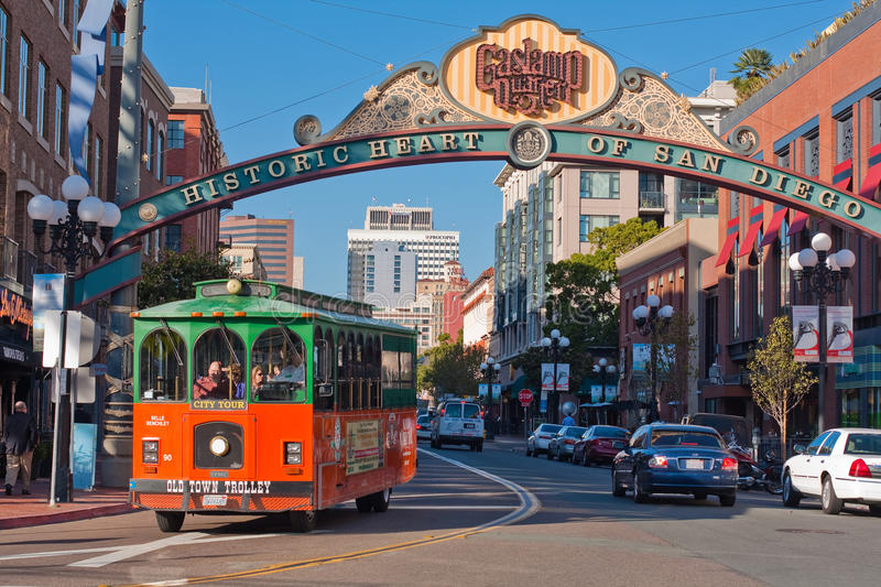 Trolley Tour in Gaslamp District in San Diego stock photos
