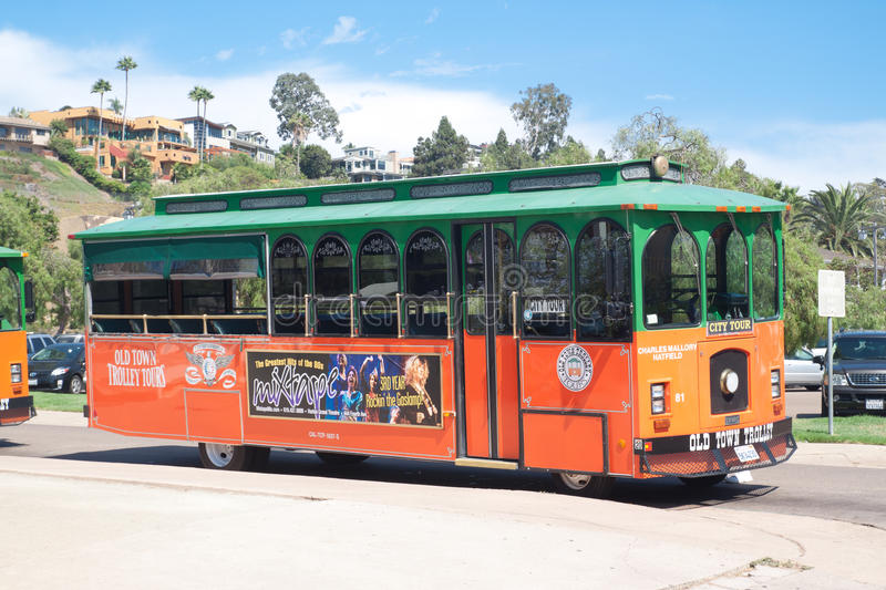 Trolley tours in old town San Diego, California. The famous sightseeing point royalty free stock photos
