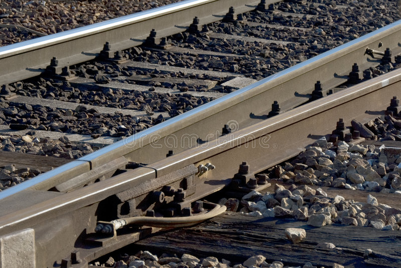 Trolley track. Close up of trolley track stock photos