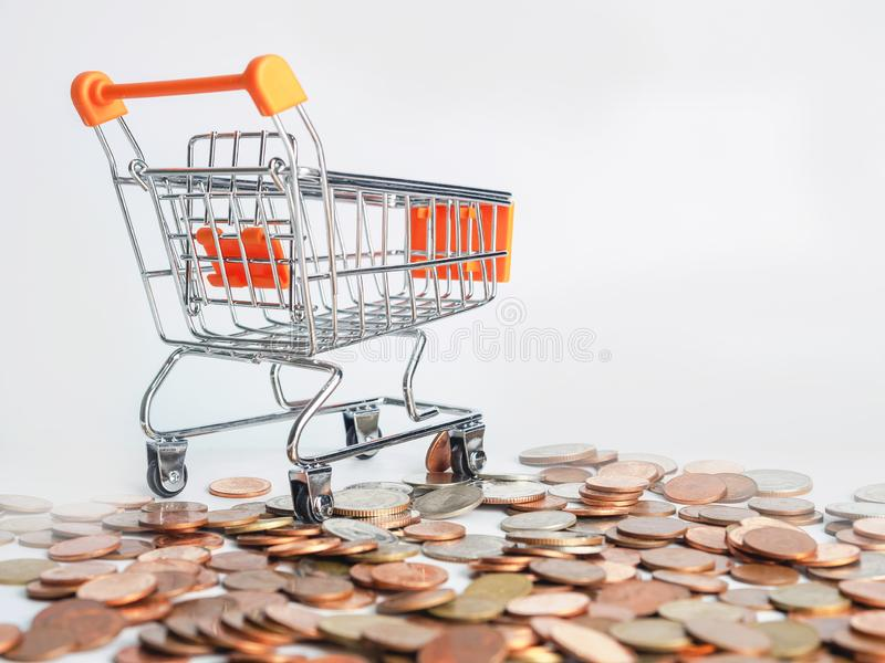 Trolley where coins are inverted.  royalty free stock photo