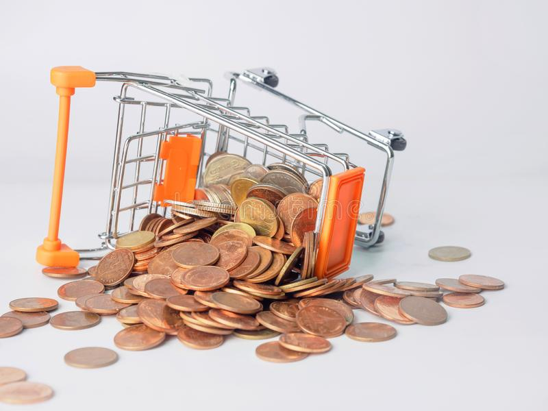 Trolley where coins are inverted.  stock photo