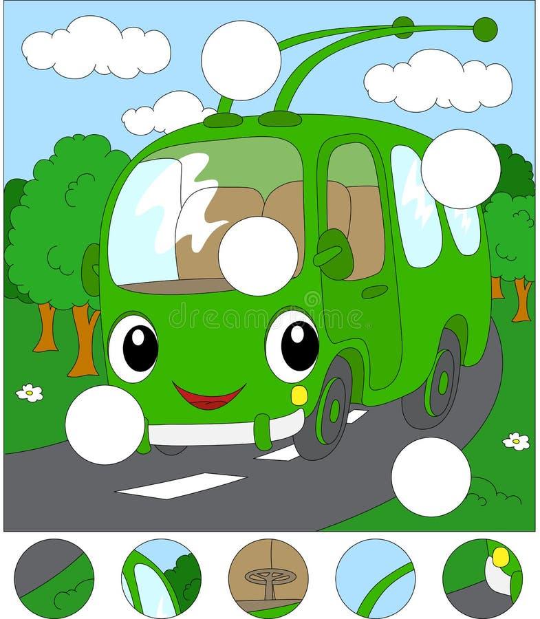 Trolleybus κινούμενων σχεδίων στο δασικό δρόμο Ολοκληρώστε το γρίφο και το φ απεικόνιση αποθεμάτων