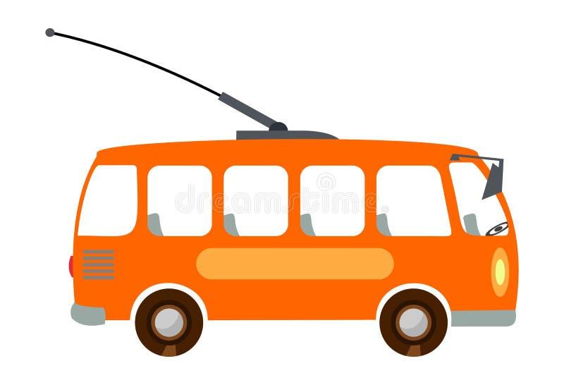 trolleybus animatie De illustratie van trolleybuskinderen Vector illustratie die op witte achtergrond wordt geïsoleerdd vector illustratie