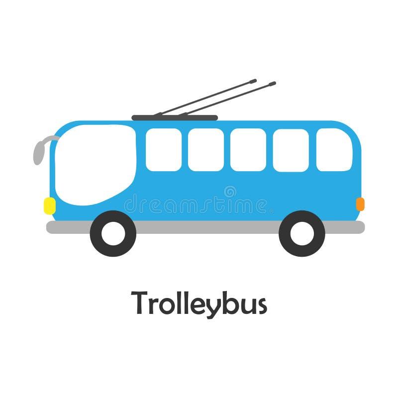Trolleybus in beeldverhaalstijl, kaart met vervoer voor jong geitje, peuteractiviteit voor kinderen, vectorillustratie royalty-vrije illustratie
