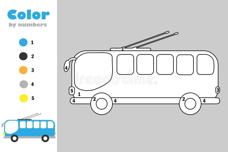Trolleybus in beeldverhaalstijl, kleur door aantal, onderwijsdocument spel voor de ontwikkeling van kinderen, kleurende pagina, j vector illustratie
