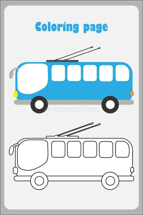 Trolleybus in beeldverhaalstijl, kleurende pagina, onderwijsdocument spel voor de ontwikkeling van kinderen, jonge geitjes peuter stock illustratie