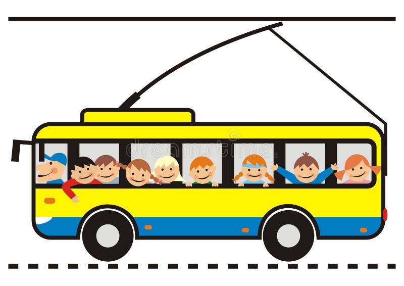 Trolleybus en kinderen stock illustratie