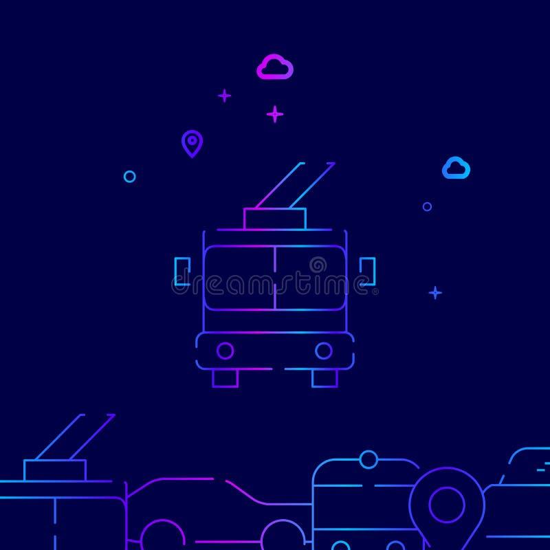 Trolleybus Front View Vector Line Icon, Illustratie op een Donkerblauwe Achtergrond Verwante Bodemgrens vector illustratie