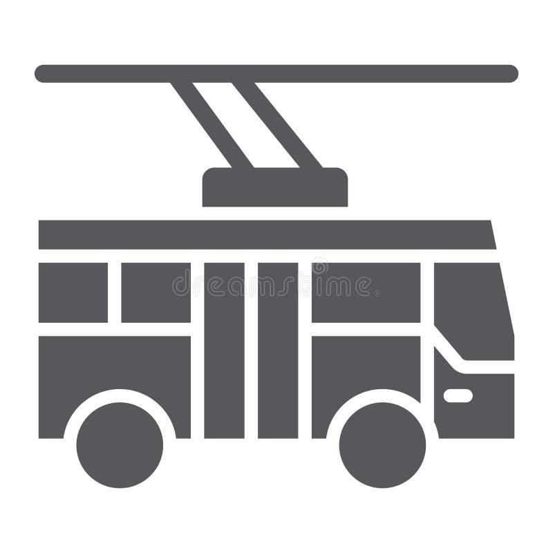 Trolleybus glyph pictogram, vervoer en openbaar, stadsverkeersteken, vectorafbeeldingen, een stevig patroon op een wit stock illustratie