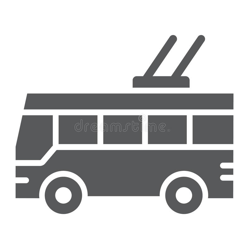 Trolleybus glyph pictogram, vervoer en openbaar, verkeersteken, vectorgrafiek, een stevig patroon op een witte achtergrond royalty-vrije illustratie