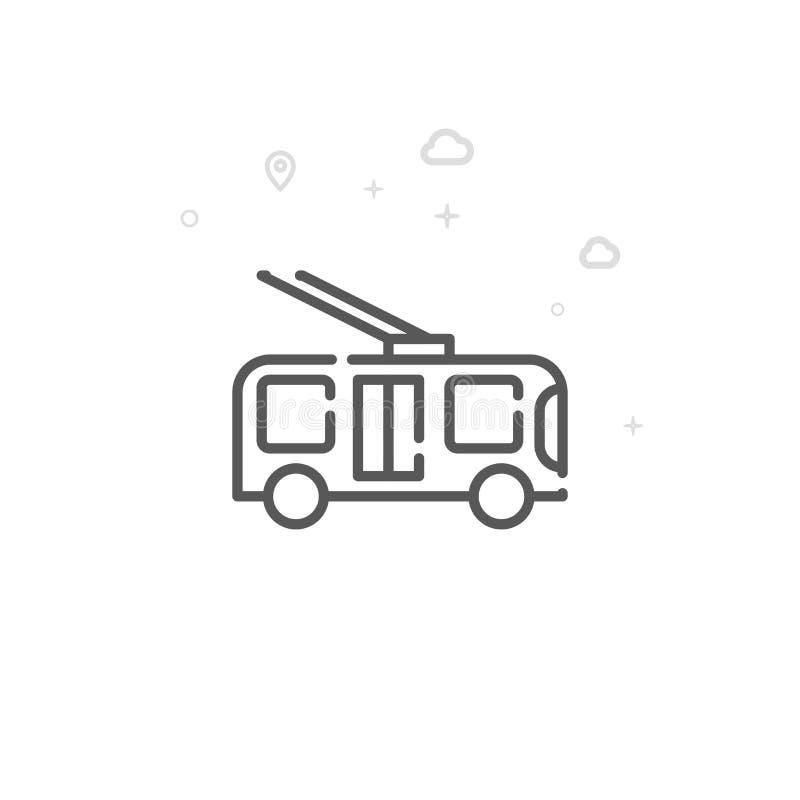Trolleybus, het Ongebaande Pictogram van de Karretje Vectorlijn, Symbool, Pictogram, Teken Abstracte geometrisch Editableslag vector illustratie